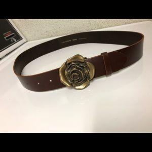 H&M Brown Leather Belt Rose Buckle